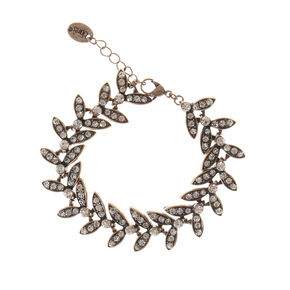 Dark Antique Style Gold Leaf Chain Bracelet,