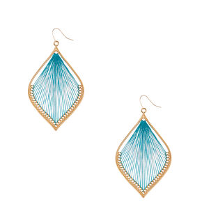 Gold-tone and Turquoise  Yarn Dreamcatcher Drop Earrings,