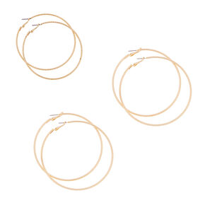 70MM, 75MM and 80MM Gold Polished and Laser Cut Hoop Earrings Set of 3,