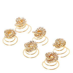 Gold-tone Crystal Knot Hair Spinners,
