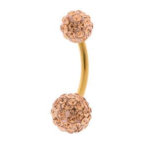 14G Rose Gold Fireball Belly Ring,