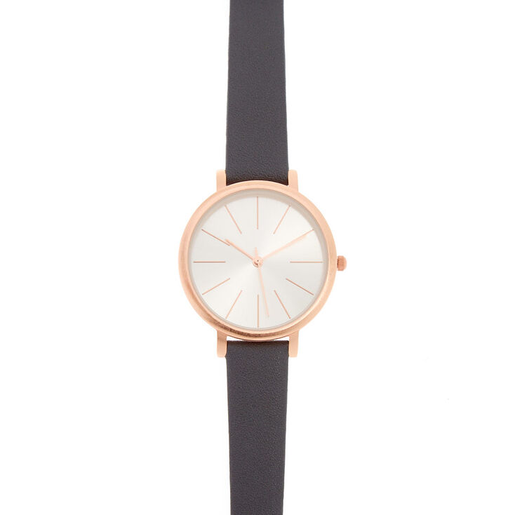 Gray Faux Leather Rose Gold-Tone Mod Watch,