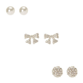 Pearl and Crystal Pave Stud Earrings,