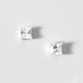 Sterling Silver Square Diamondite Studs,