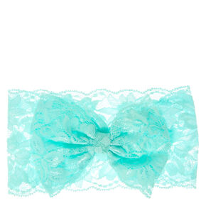Kids Mint Bow-tie Lace Headwrap,