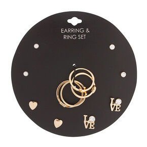Romantic Love Earrings and Rings Jewelry Set,