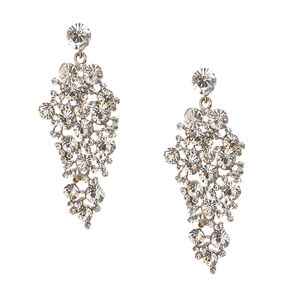 Clear Faux Crystal Cluster Drop Earrings,