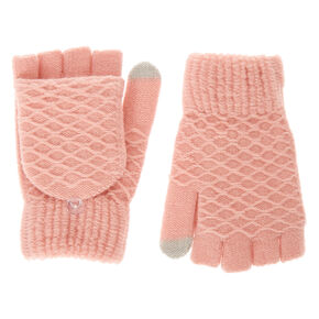 Pink Textured Touch Screen Fingerless Gloves with Mitten Flap,