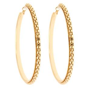 80MM Gold Textured Hoop Earrings,