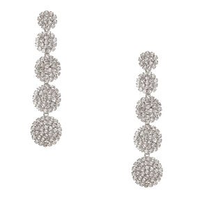 Faux Crystal Linear Circle Drop Earrings,