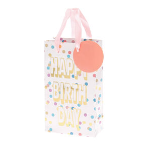 Pastel Polka Dot Happy Birthday Small Gift Bag,