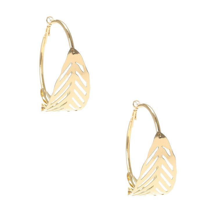 Gold Leaf Hoop Earrings,