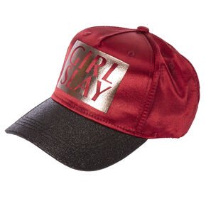Burgundy and Black Glitter GIRL SLAY Baseball Hat,
