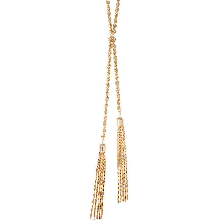Gold Rope Chain and Tassels Lariat Necklace,