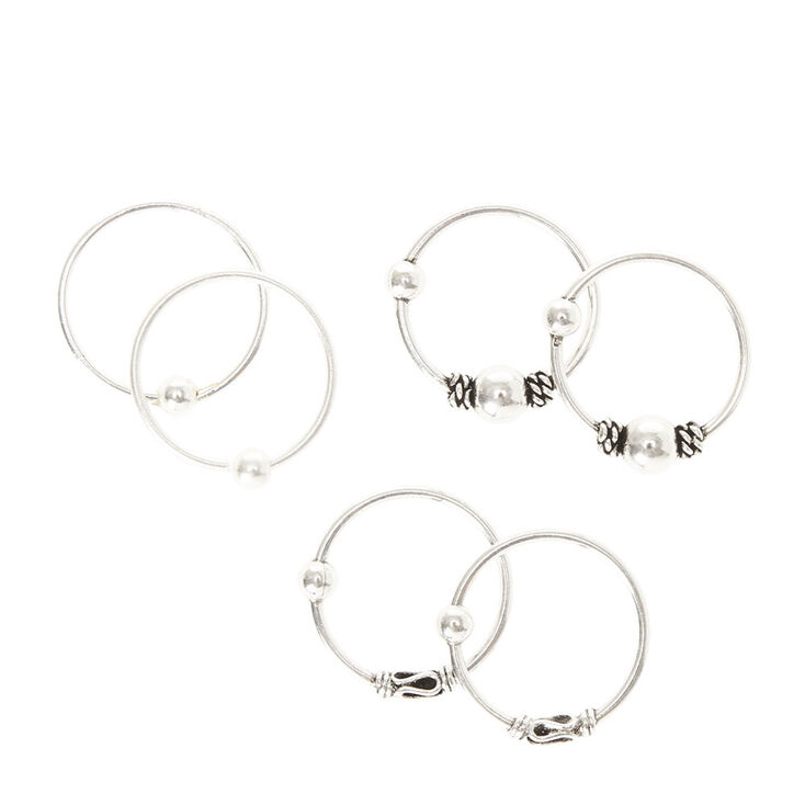 Sterling Silver 3 Pack Barley Hoop Earrings,