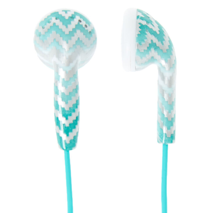 mint chevron ombre earbuds