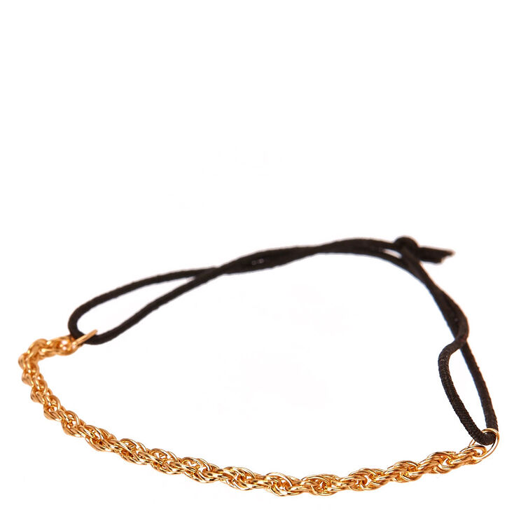 Gold-tone Rope Chain and Black Stretch Bracelet,
