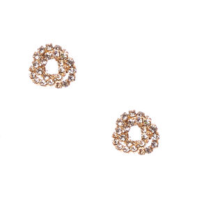 Gold-tone Faux Crystal Lined Knot Stud Earrings,
