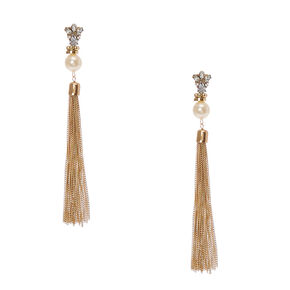 Crystal Cluster and Faux White Pearl Gold Chain Tassel Drop Earrings,