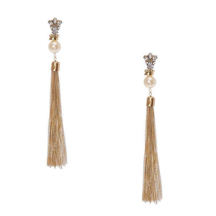 Crystal Cluster and Faux White Pearl Gold Chain Tassel Drop Earrings at Icing in Victor, NY | Tuggl
