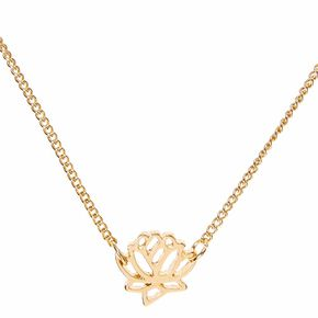 Gold Tone Lotus Pendant Necklace,