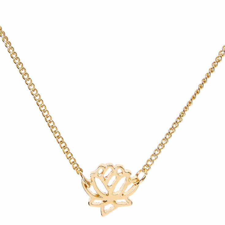 Gold Tone Lotus Pendant Necklace,