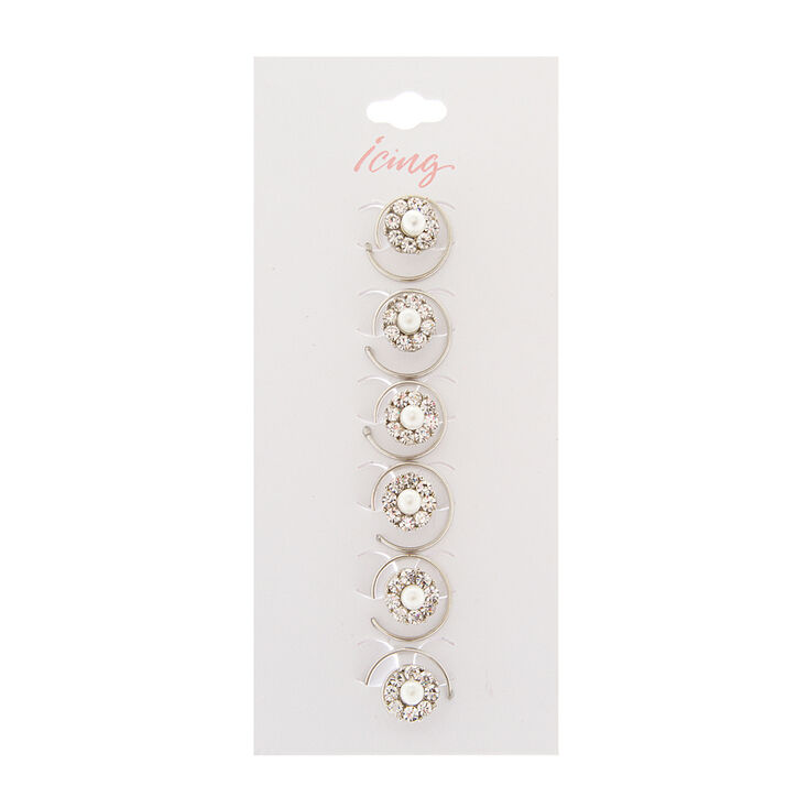Rhinestone and Pearl Flower Hair Jewels Set of 6 at Icing in Victor, NY | Tuggl