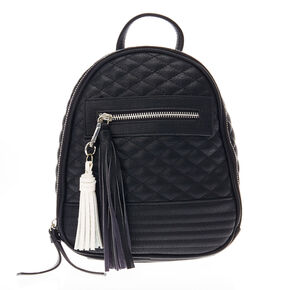 Black Pillowed Faux Leather Mini Backpack,