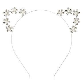 Silver Pearl Studded Cat Ear Headband,