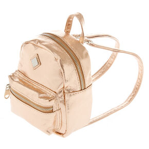 Metallic Rose Gold Mini Backpack,