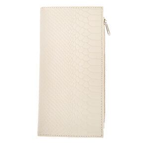 White Faux Leather Snake Skin Clutch Wallet,