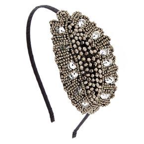 Vintage Silver Beaded Headband,
