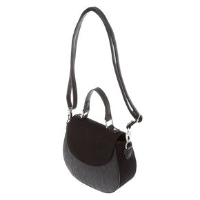 Faux Leather & Suede Black Mini Tote Saddle Bag,