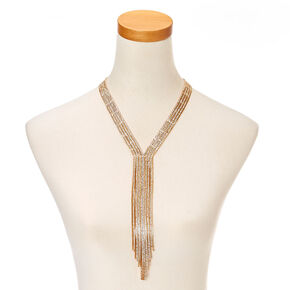 Gold Fringe Crystal Necklace,