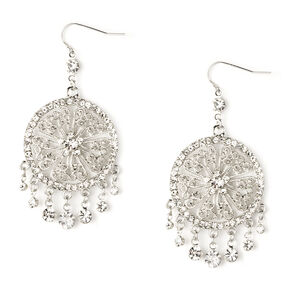 Rhinestone and Silver Filigree Dream Catchers with Dangling Crystals Drop Earrings,