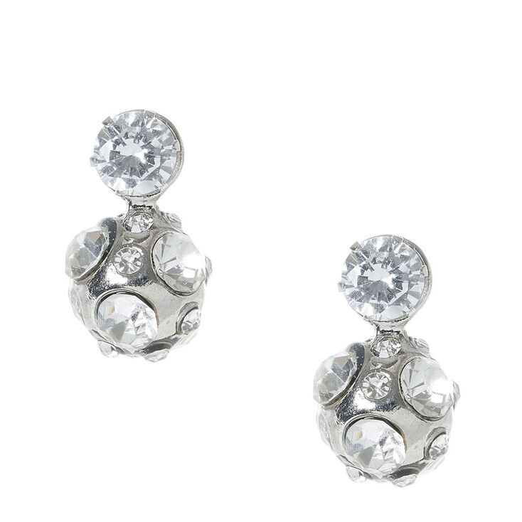 Silver tone Fireball Front and Back Stud Earrings,