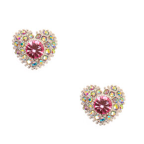Iridescent & Pink Crystal Heart Stud Earrings,