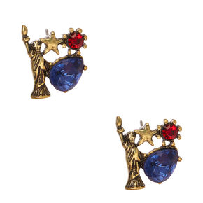 Burnished Gold Lady Liberty Stud Earrings,