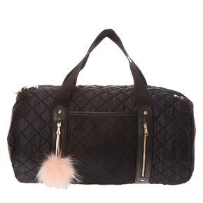 Black Satin Quilted Duffel Bag,