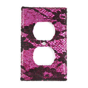 Fuchsia Glitter and Black Floral Lace Outlet Cover,