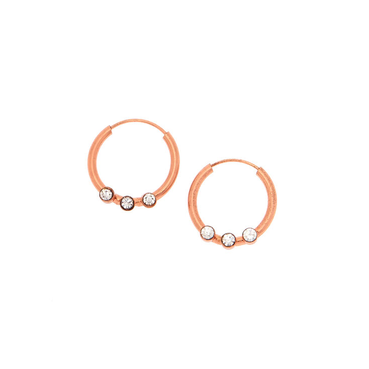 12MM Rose Gold Plated Crystal Hoop Earrings | Claire's US