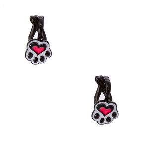 Black Paw Print Clip On Earrings,