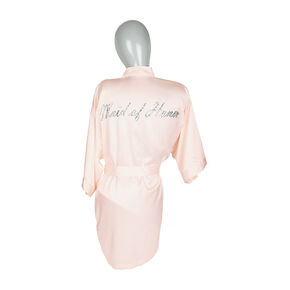 Light Pink Satin and Crystal Maid of Honor Robe,