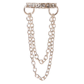 Crystal Studded Silver-tone Chain Ear Cuff,