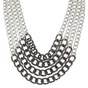 Multi Layer Tri Color Chain Necklace,