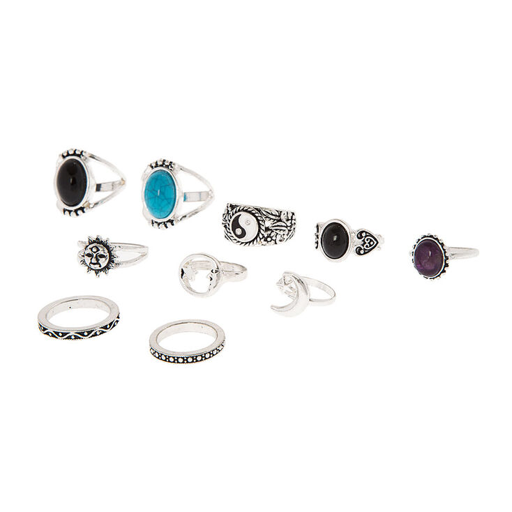 Silver, Black and Turquoise Rings Set of 10,