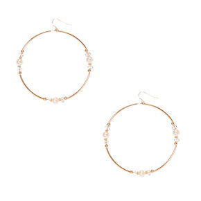 Gold-Tone Large Circle Earrings with Faux Pearls,