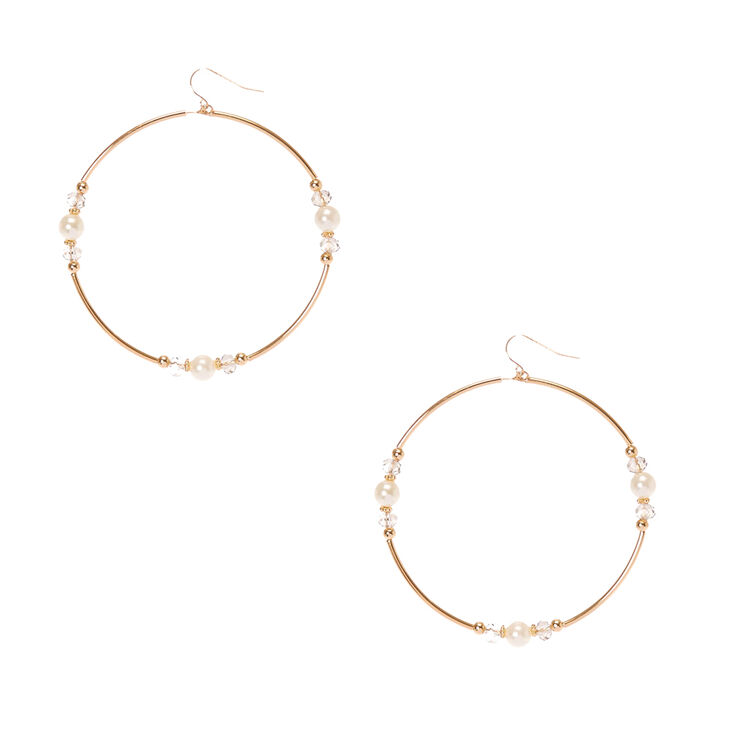 Gold-Tone Large Circle Earrings with Faux Pearls at Icing in Victor, NY | Tuggl
