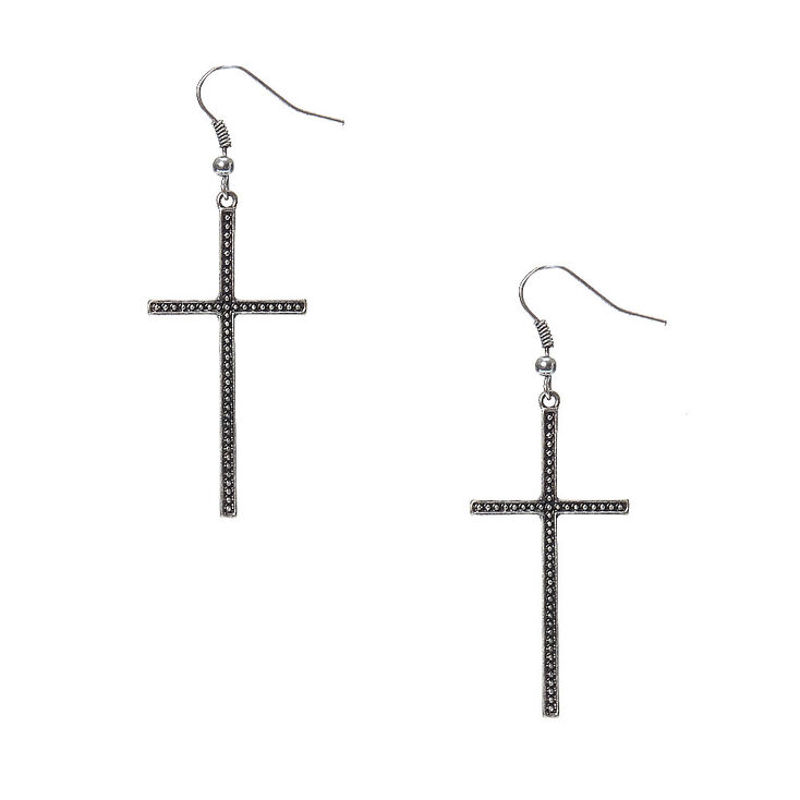 Burnished Silver-tone Cross Drop Earrings at Icing in Victor, NY | Tuggl