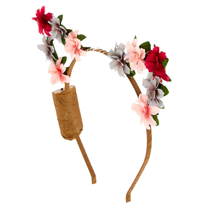 Light Up Pink Flower Cat Ear Headband,
